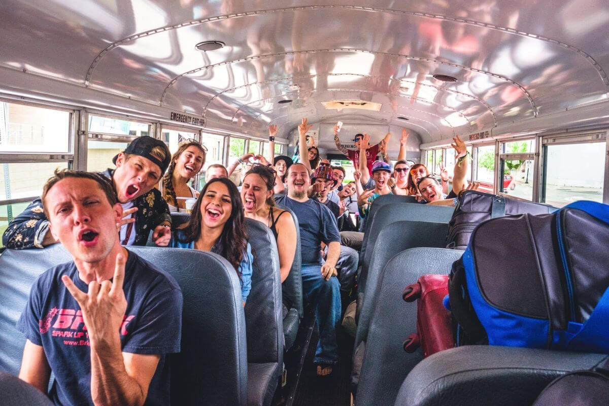 Fans riding with Sharethebus