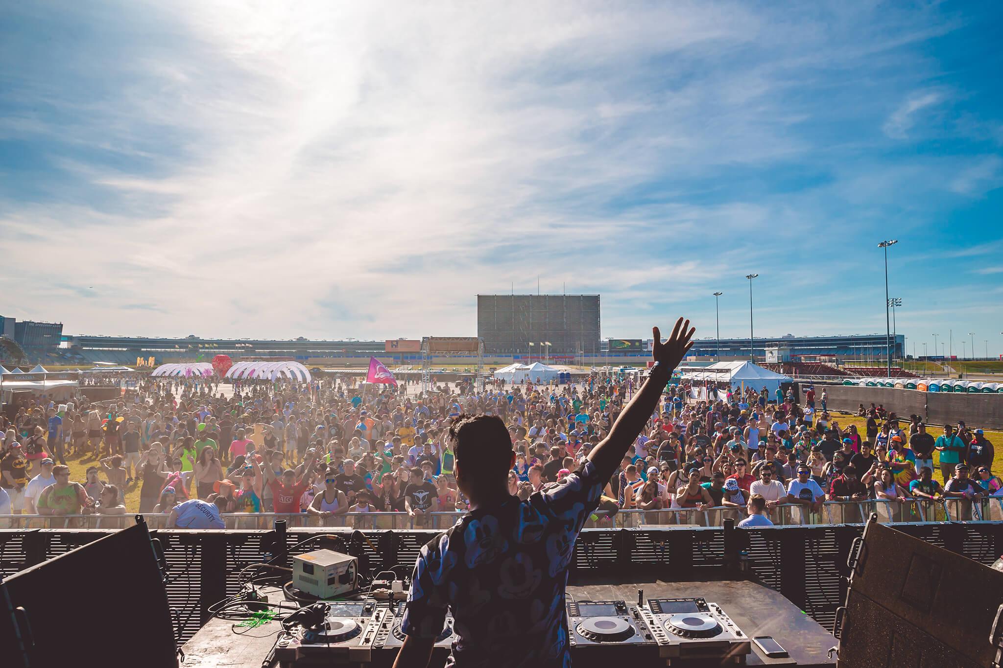 DJ on stage at Something Wonderful festival