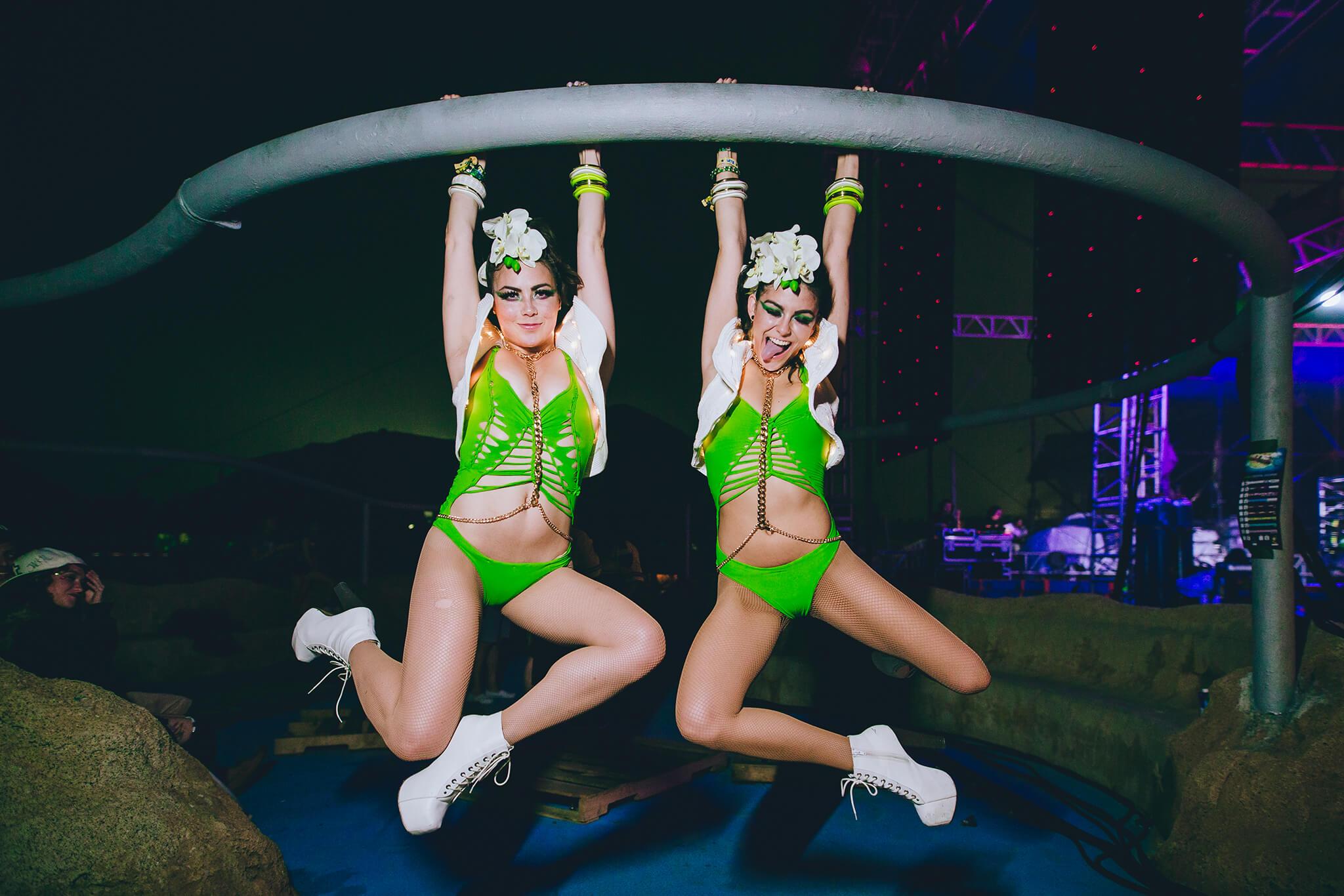 show girls goofing around backstage