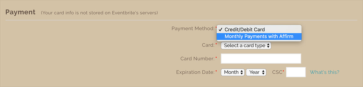 select the affirm payment plan