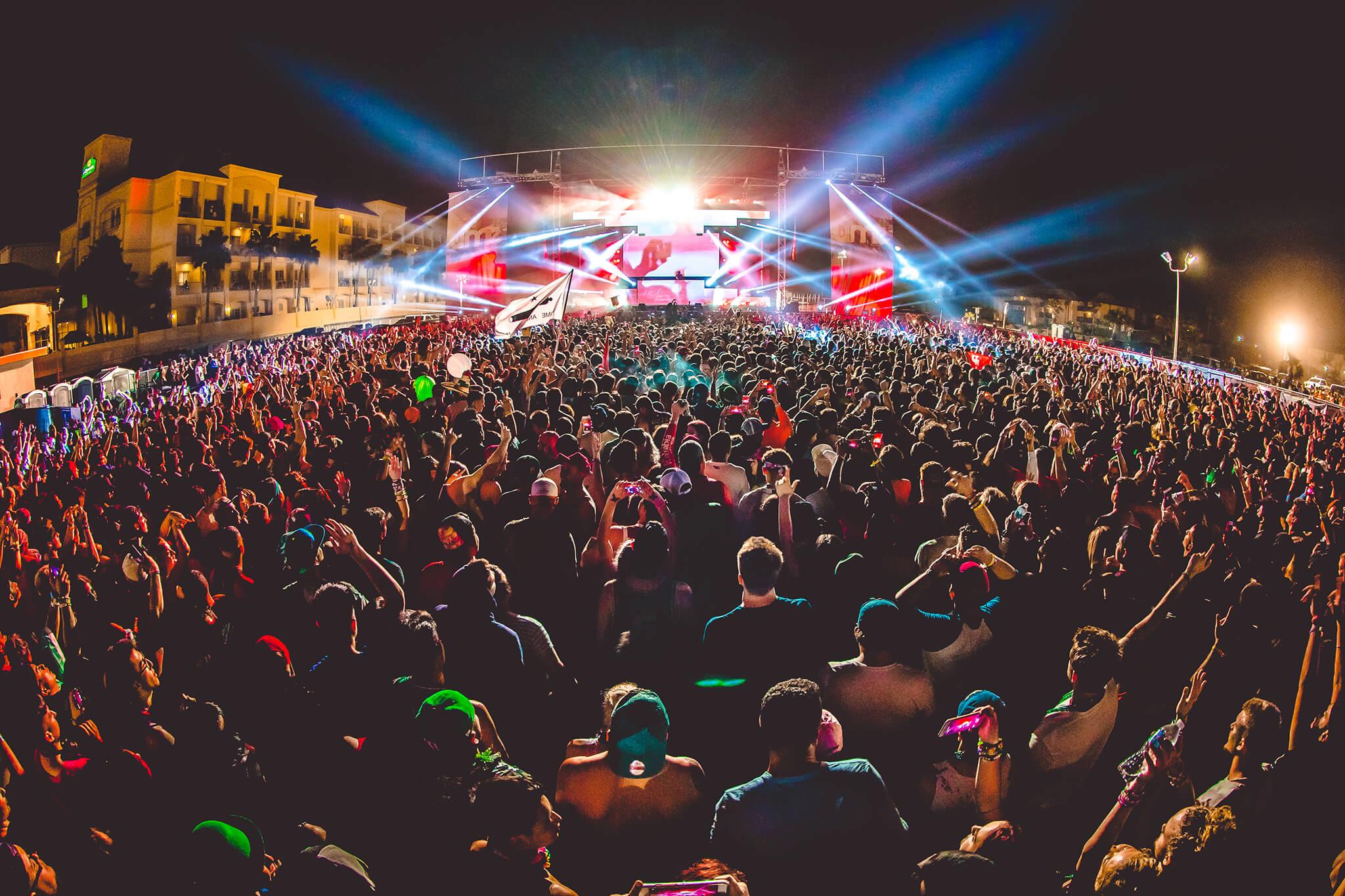 crowd in lights during tiesto