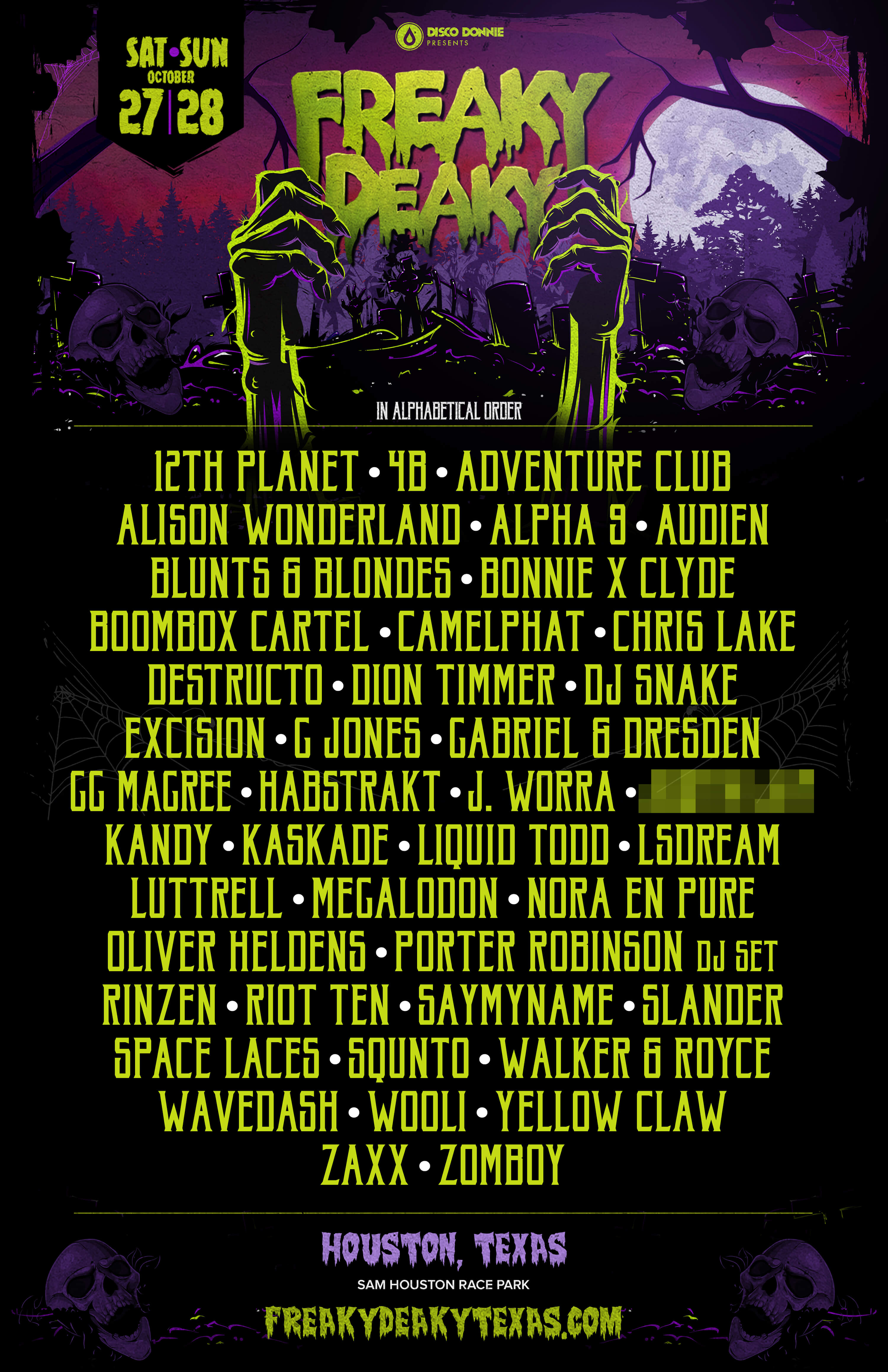 lineup poster for freaky deaky texas 2018