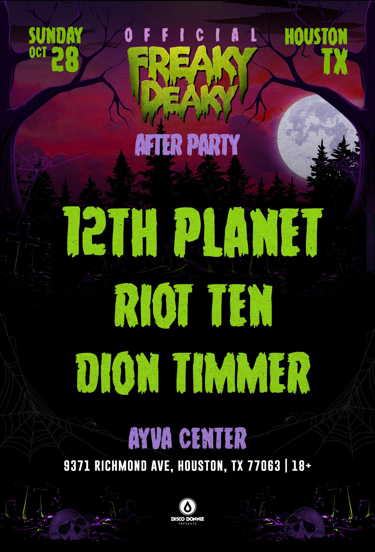 12th Planet, Riot Ten, Dion Timmer at Ayva Center