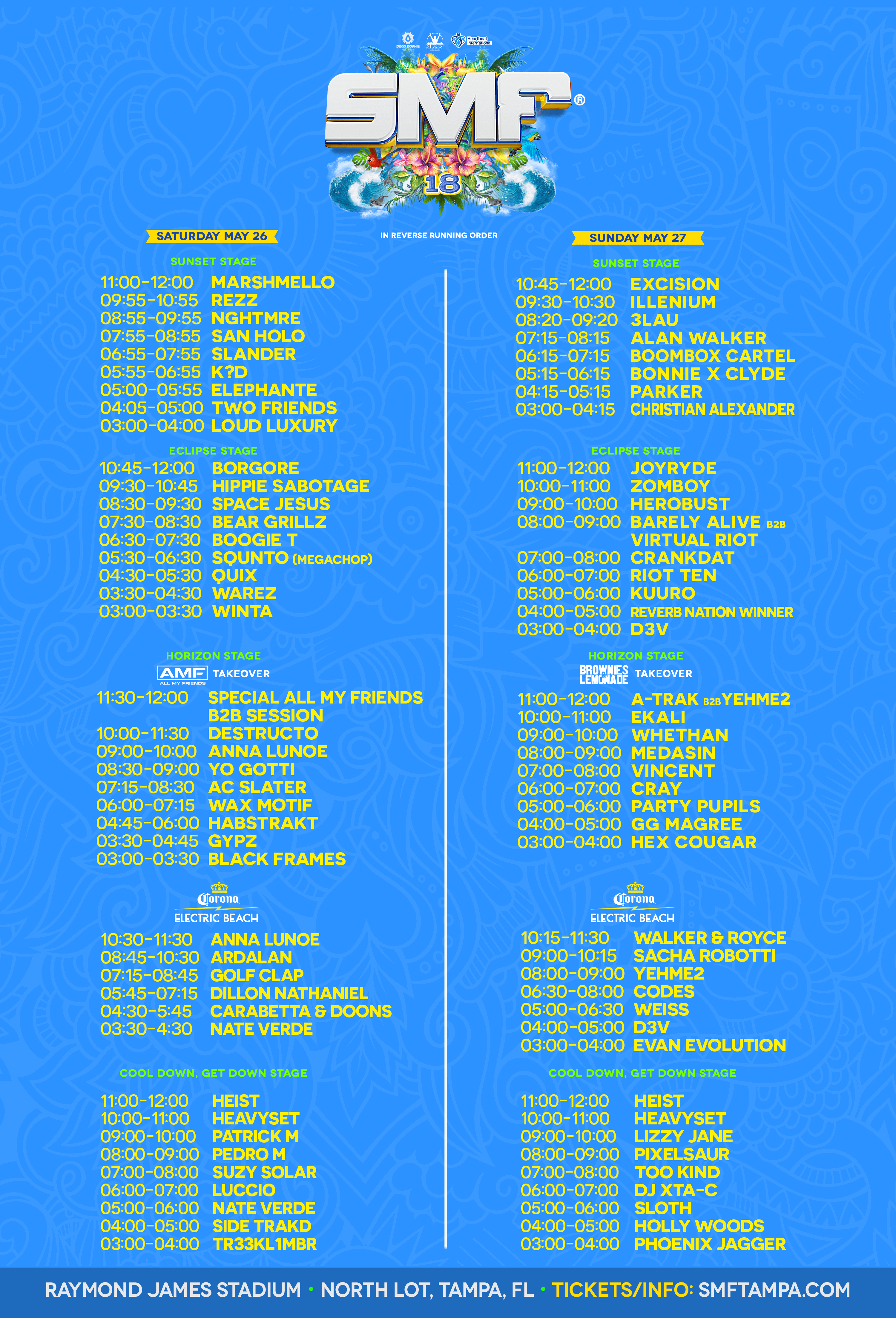 Sunset Music Festival 2018 Schedule