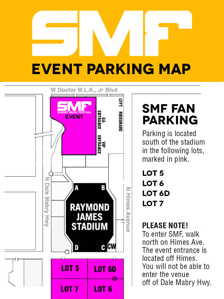 Parking Map for Sunset Music Festival 2018