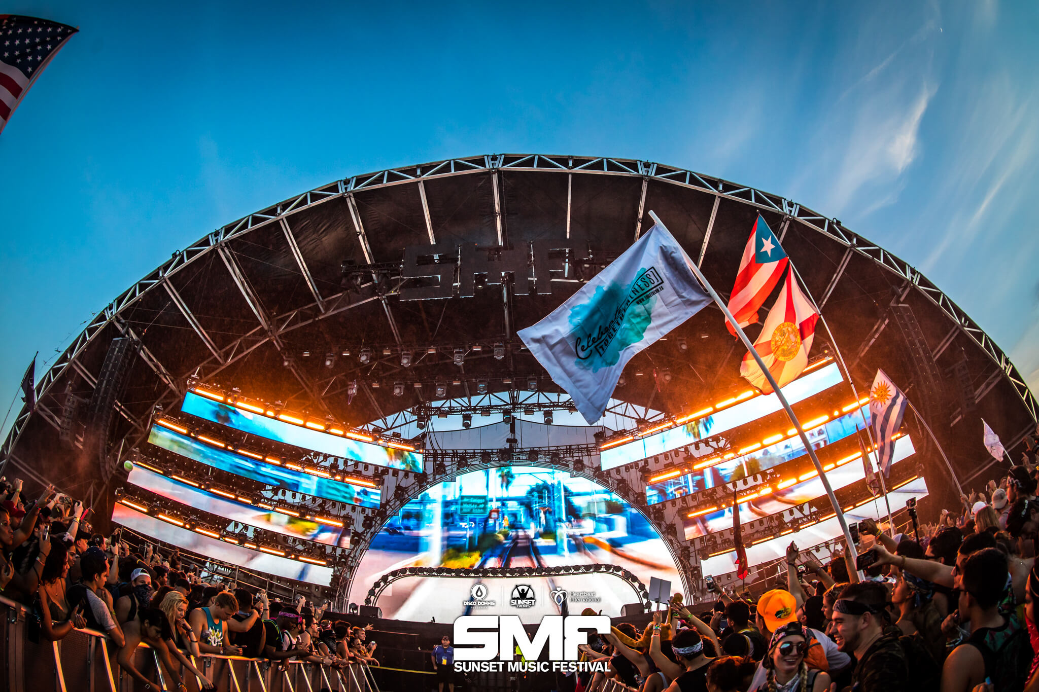 main stage getting hype at sunset