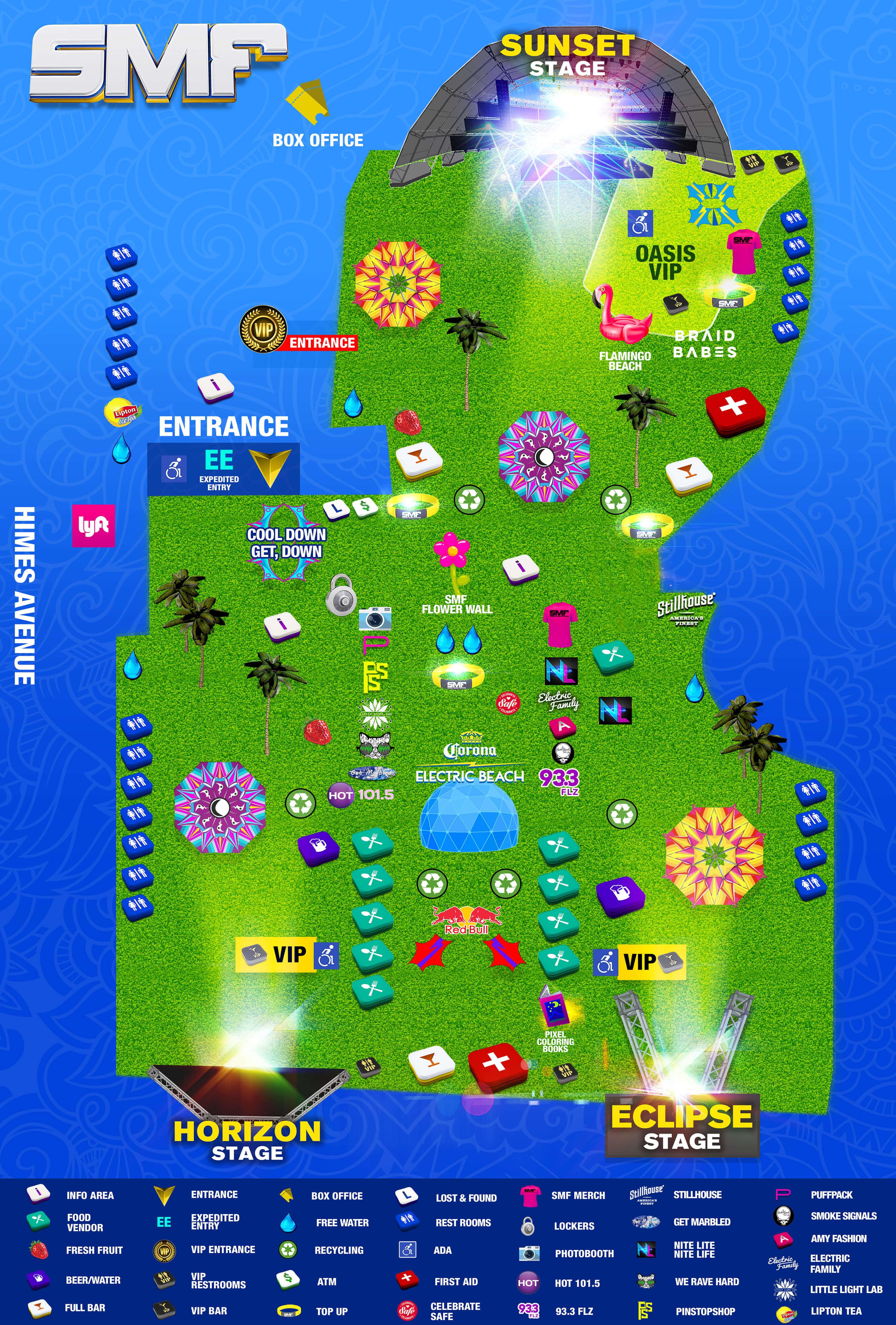 Festival Map of Sunset Music Festival 2018
