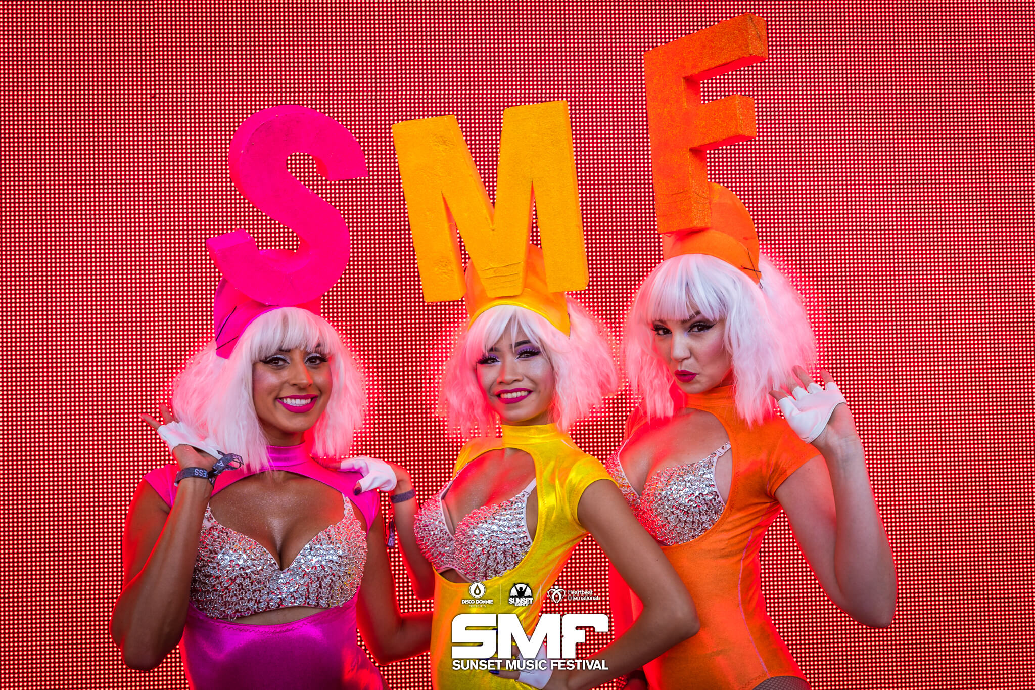 costumed performers showcase the SMF brand