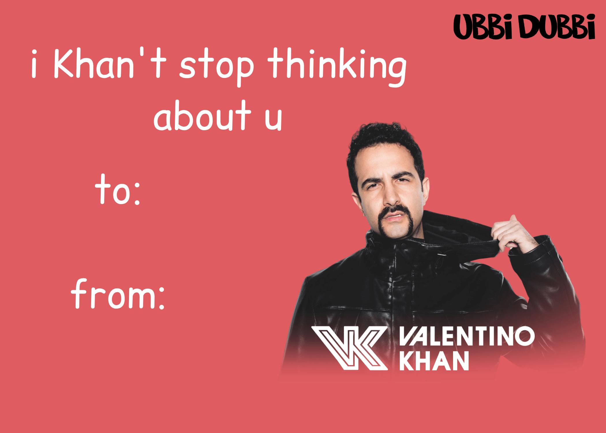 ubbi dubbi valentine's day card for valentino khan