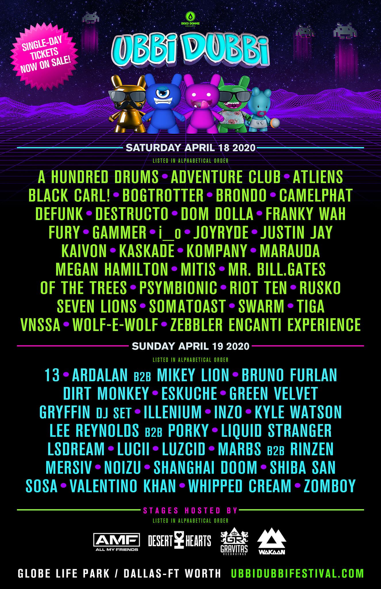 ubbi dubbi festival 2020 daily lineups