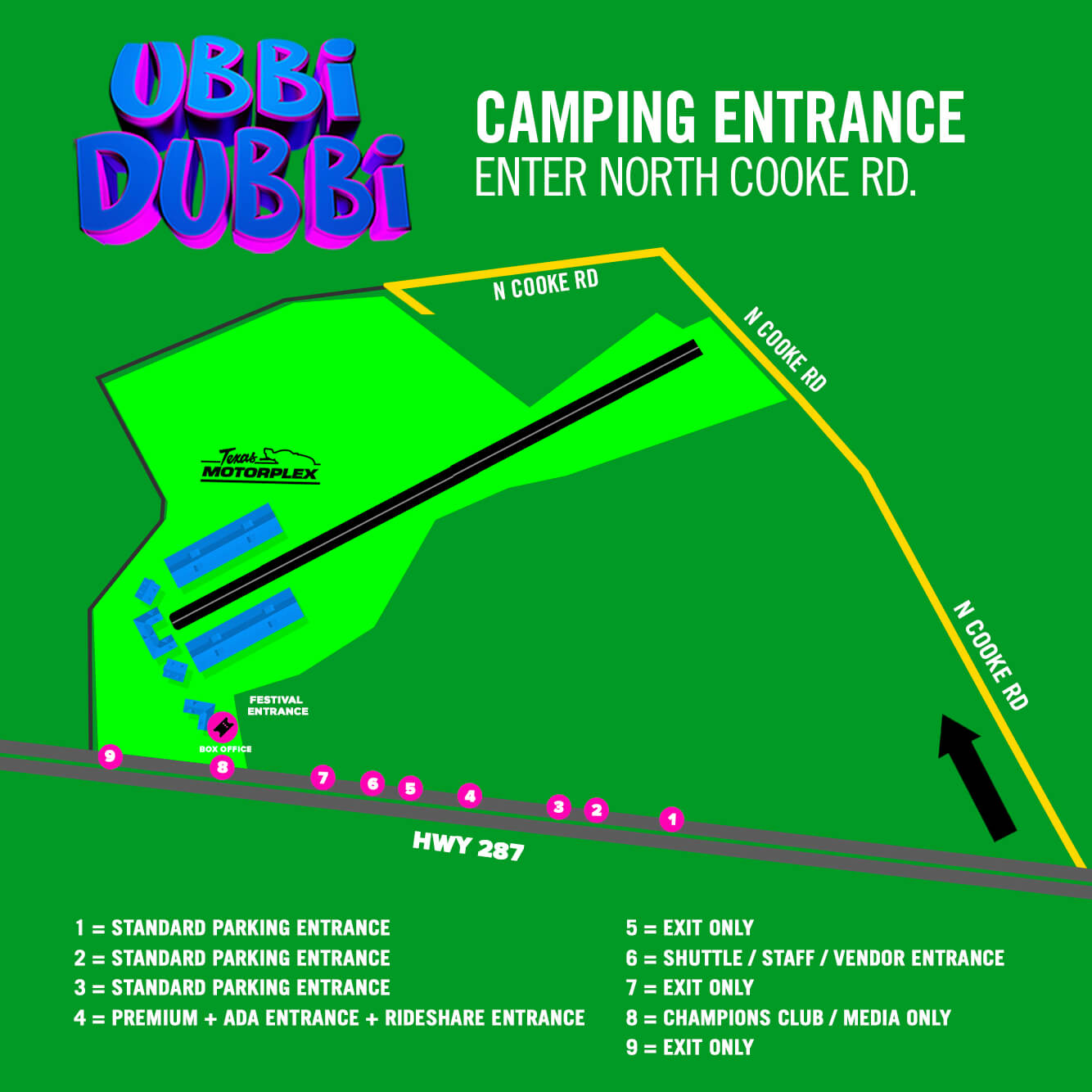 camping arrival map