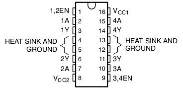 Распиновка L293D