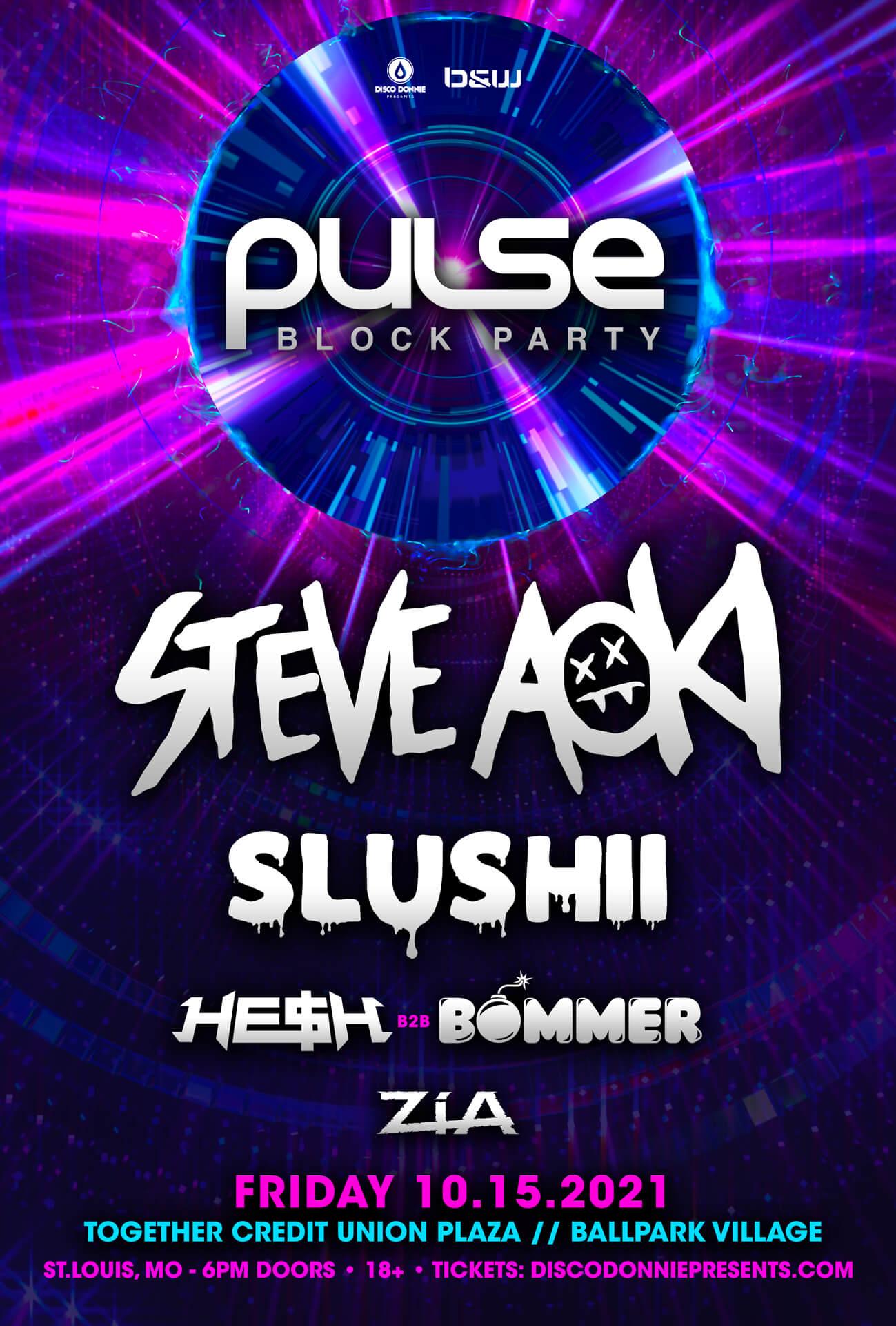 Steve Aoki, Slushii, HE$H, Bommer, Zia in St Louis