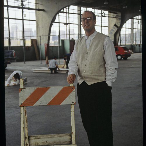 CCA History: David Meckel standing in the early stages of the Historical SF Campus building, originally an old greyhound bus station.
