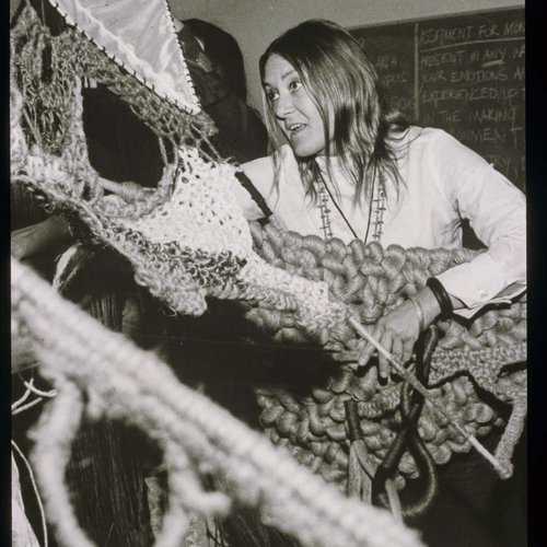 CCA History: Textiles student working in class at the Oakland campus.