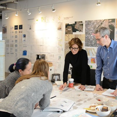Jeanne Gang and her team of architects work on the model for the new CCA campus.
