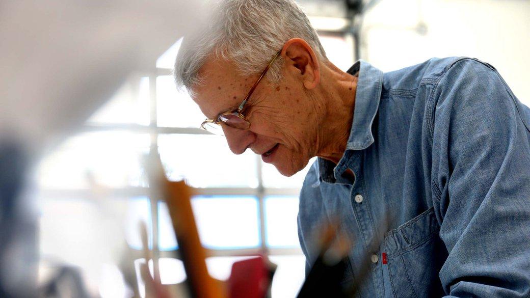 Stephen Beal working in his art studio