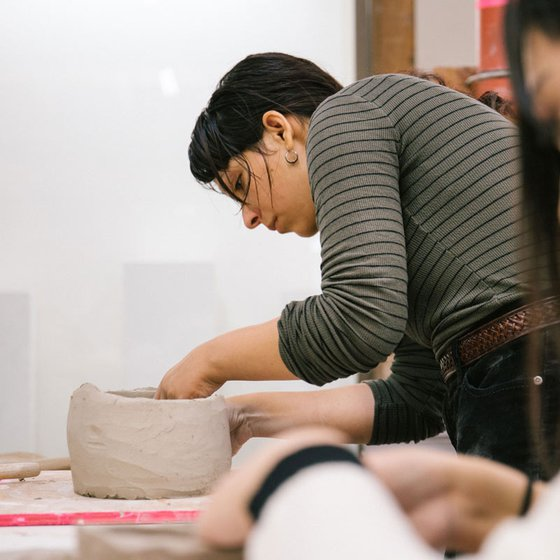 Ceramics students working in the CCA Ceramics Studio
