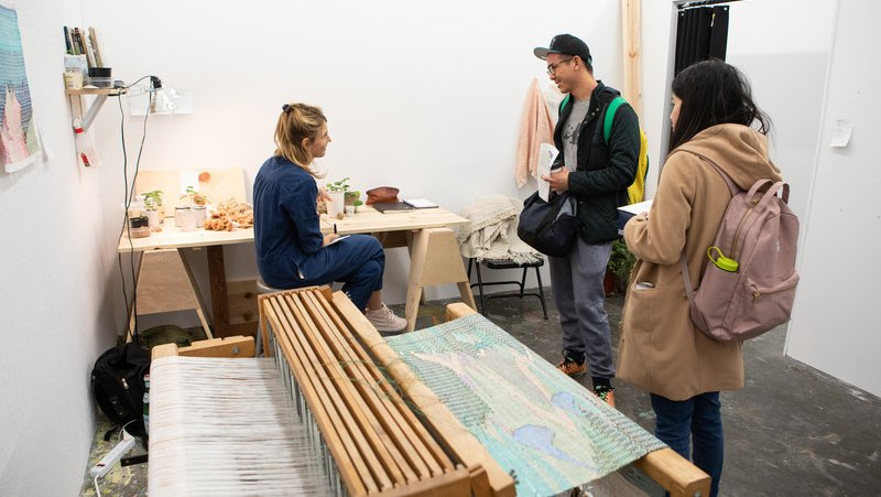 Margot Becker in her Dogpatch studio during MFA Open Studios_feature_MB