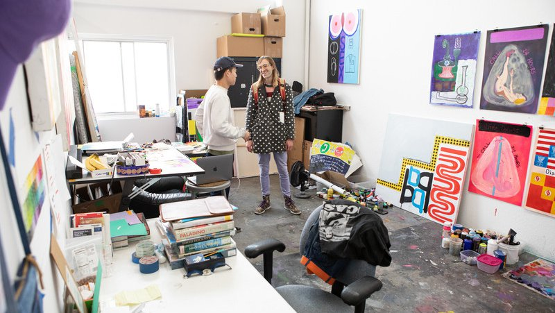 MFA Fine Arts student doing a studio visit in their Dogpatch MFA Studio_Open Studios_feature_MB