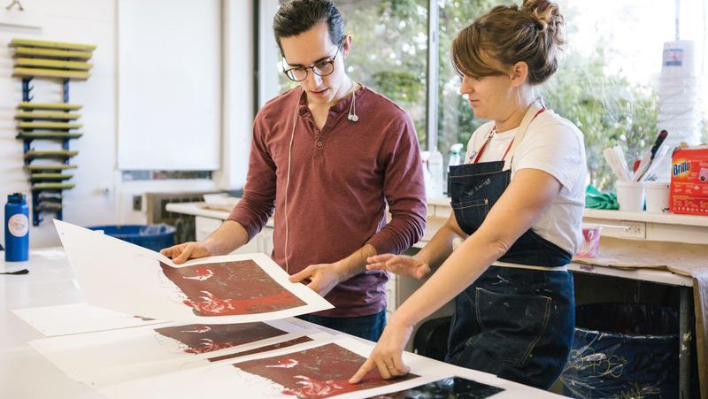 Student reviews screenprints with faculty_horizontal feature_MB