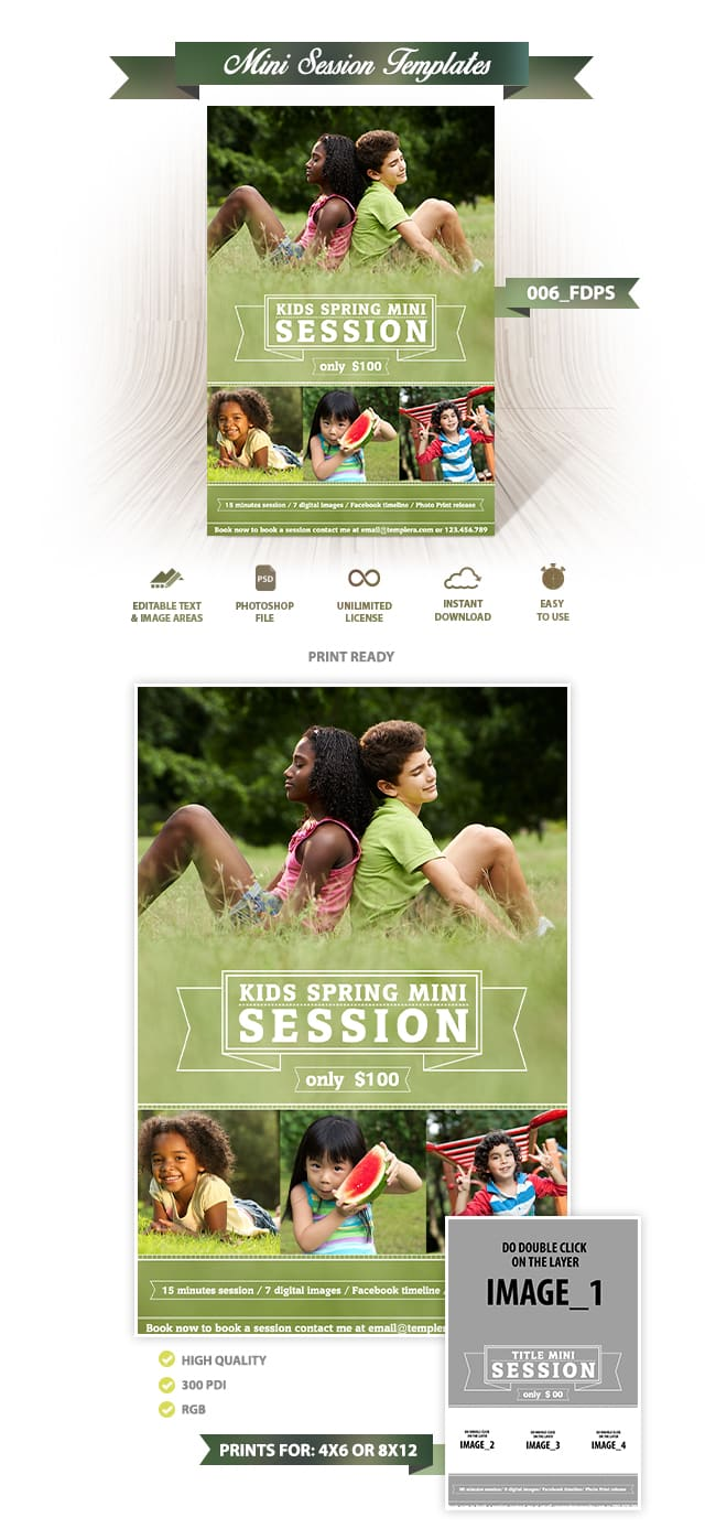 Kids Spring Mini Session Template 006