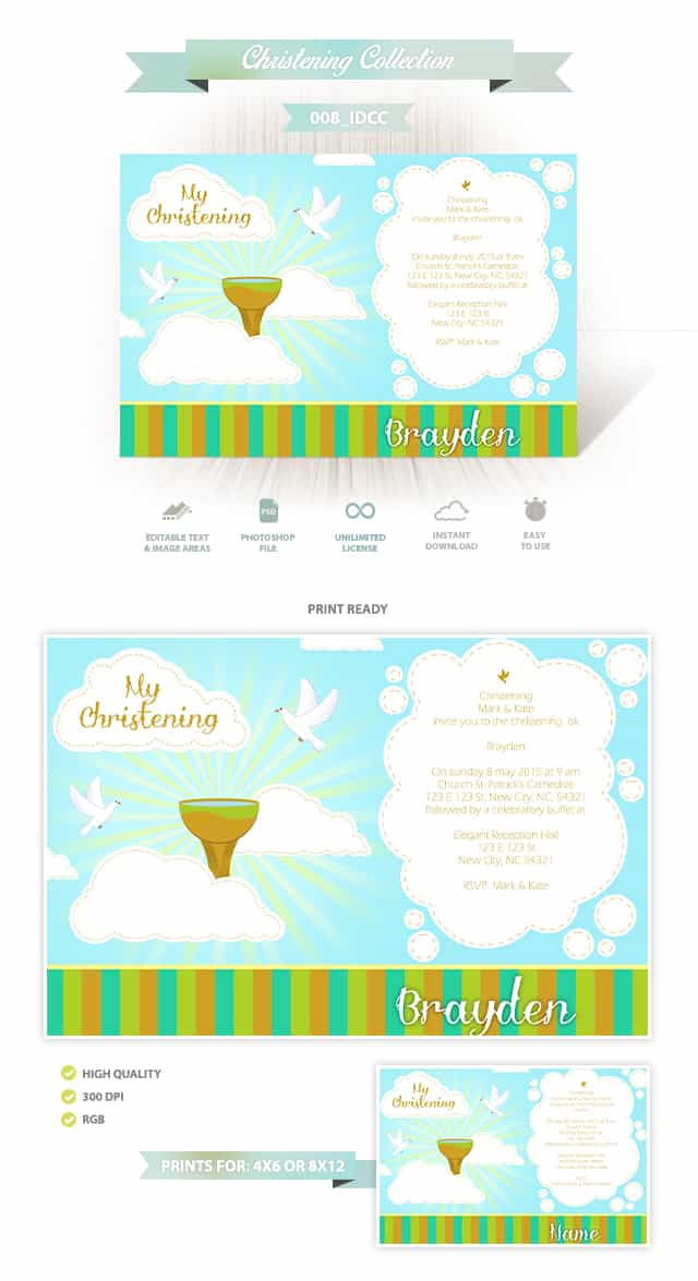 Christening Invitation Design 008