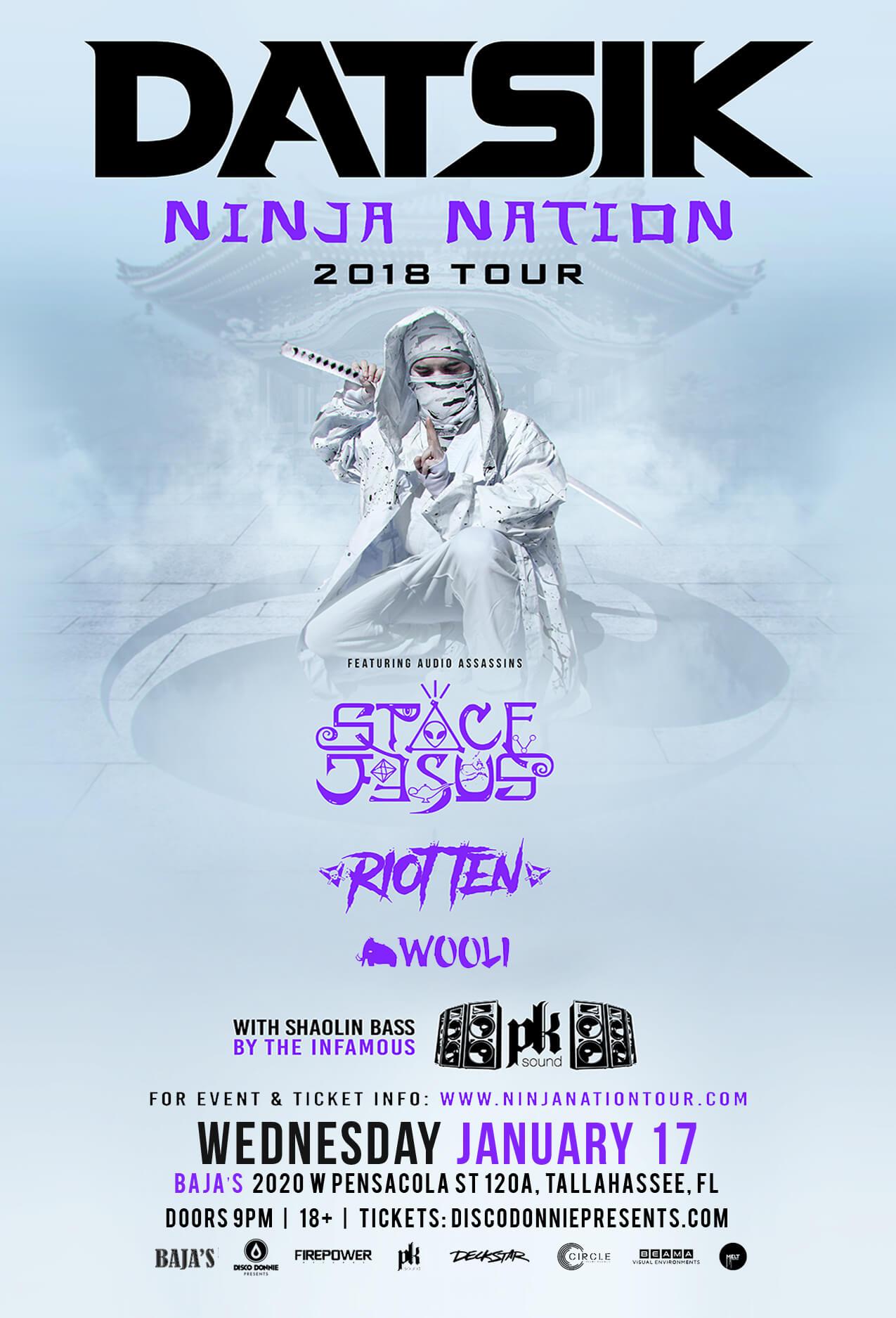 Datsik Ninja Nation Tour 2020 Datsik, Space Jesus, Riot Ten, Wooli at Bajas