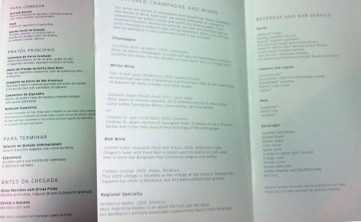 Parte interna da carta de vinhos e do menu