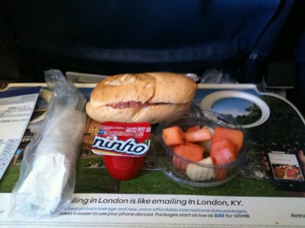 Café da manhã voo de ida
