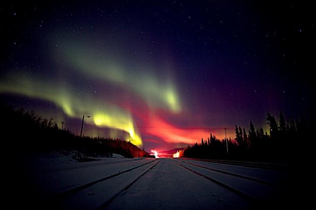 Aurora boreal no Alaska