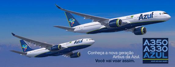 Projeção dos novos jatos Airbus nas cores da Azul, divulgada pela companhia
