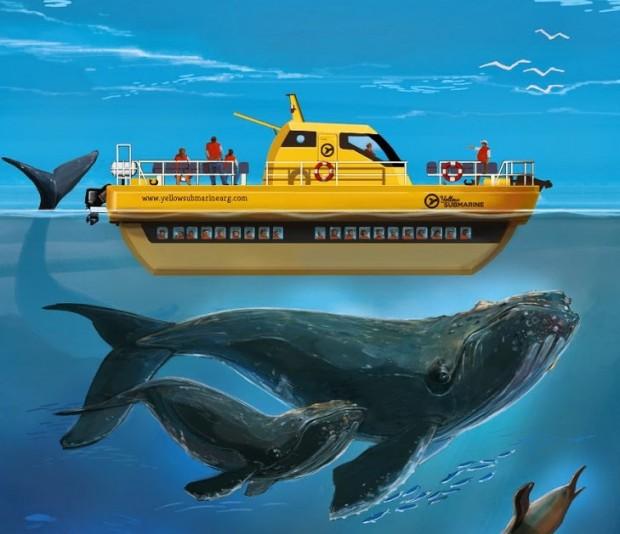 Ilustração da embarcação fechada Yellow Submarine
