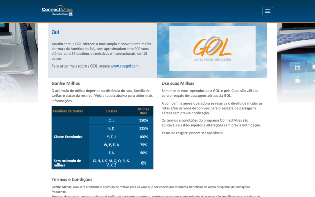 Tabela de pontuação de voos GOL no ConnectMiles (a partir de 01/07/2015)