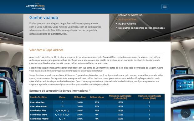 Nova tabela de acúmulo de milhas da Copa Airlines – ConnectMiles (a partir de 01/07/2015)