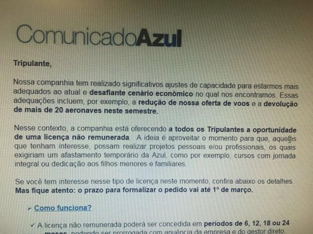 Comunicado da Azul - reprodução do site o Antagonista