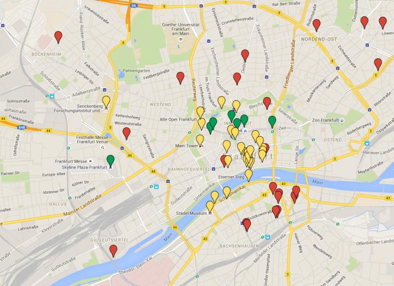 Mapa de Frankfurt com os principais pontos da cidade - fonte: Google Maps