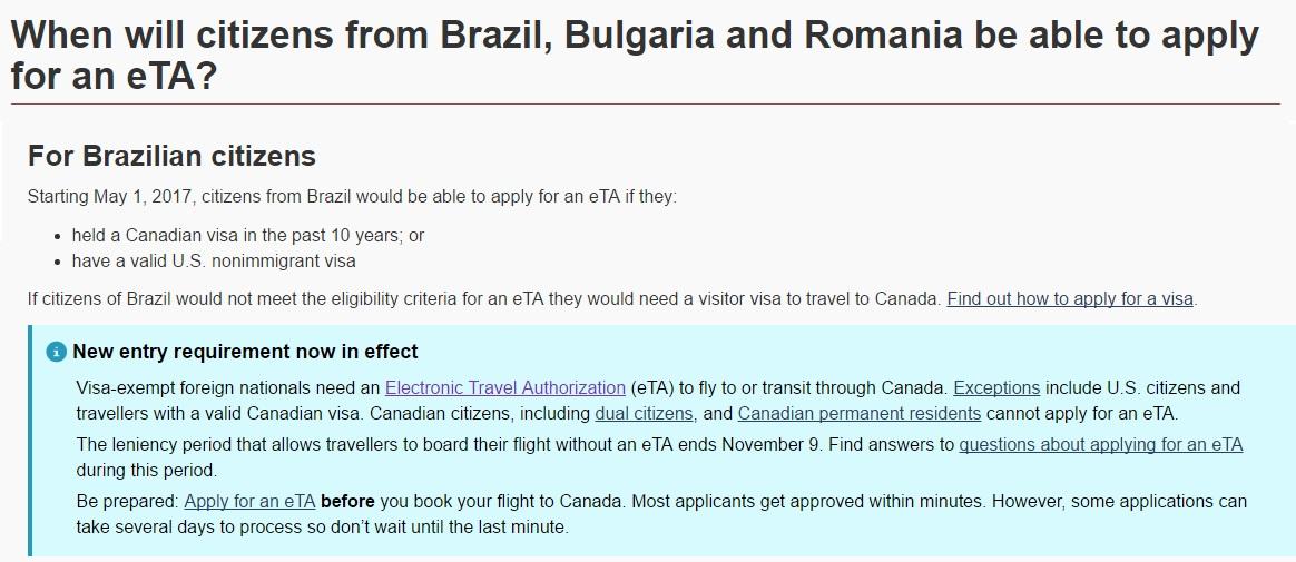 Confirmação no site do governo canadense