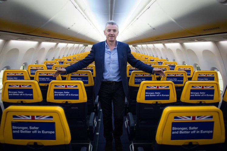 """File photo dated 16/05/16 of Ryanair chief executive Michael O'Leary who has compared Government ministers to the characters of television sitcom Dad's Army due to their """"lunatic optimism"""" over Brexit. PRESS ASSOCIATION Photo. Issue date: Tuesday November 22, 2016. The chief executive of the Dublin-based carrier claimed the UK is about to """"walk off a cliff"""" by leaving the European Union. See PA story AIR Brexit. Photo credit should read: Stefan Rousseau/PA Wire"""