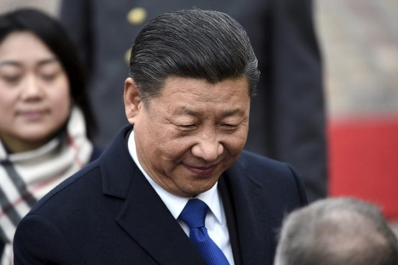 China's President Xi Jinping during the official welcoming ceremony in front of the Presidential Palace in Helsinki Finland