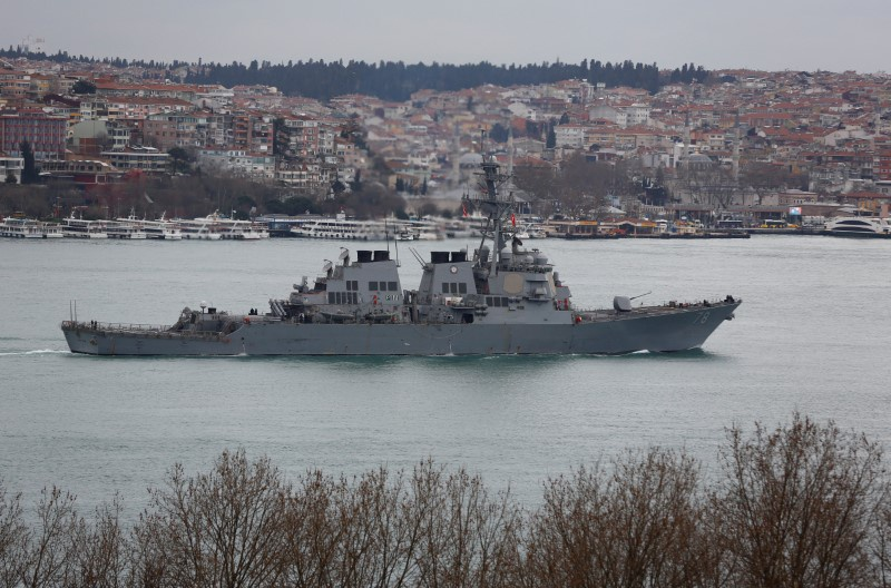 U.S. Navy guided-missile destroyer USS Porter sails in the Bosphorus on its way to the Mediterranean Sea in Istanbul Turkey February 11