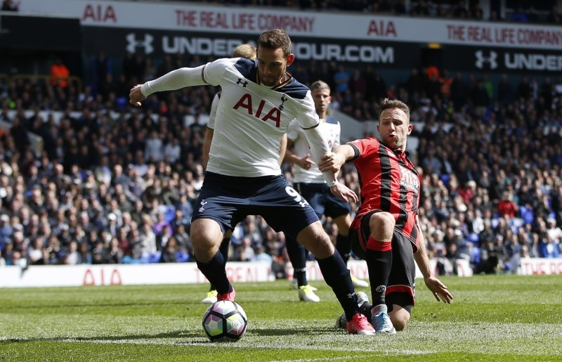 Britain Soccer Football- Tottenham Hotspur v AFC Bournemouth- Premier League- White Hart Lane- 15/4/17 Tottenham's Vincent Janssen score