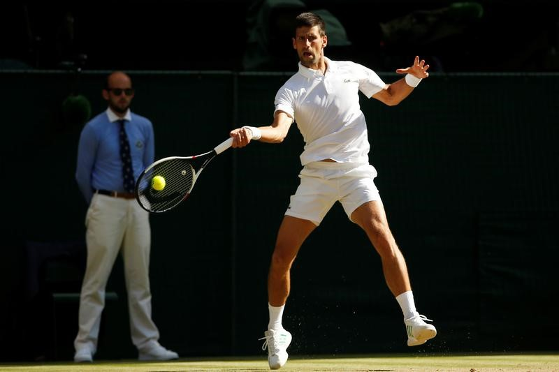 Serbia's Novak Djokovic in action during his third round match against LatviaÕs Ernests