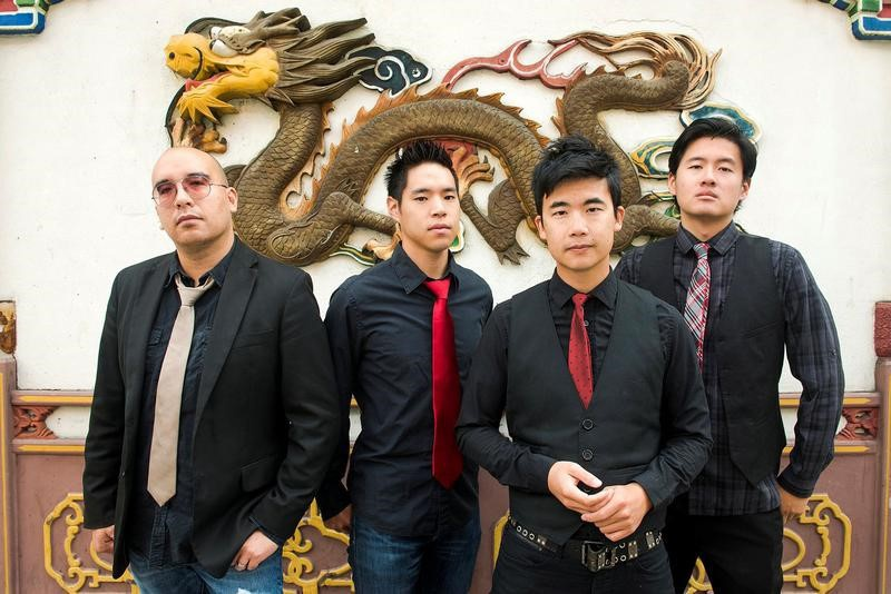 Members of the Portland Oregon-based Asian American rock band The Slants Tyler Chen Ken Shima Simon Tam Joe X. Jiang pose in Portl