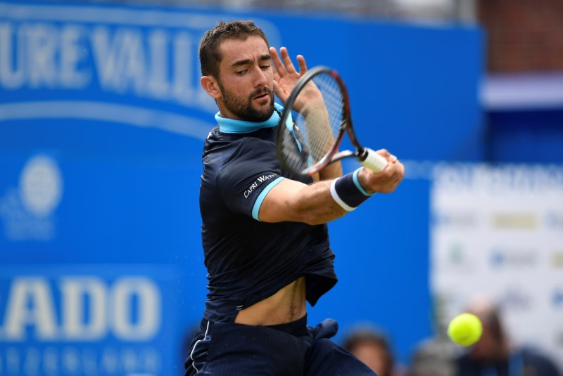Croatia's Marin Cilic in action during his second round match