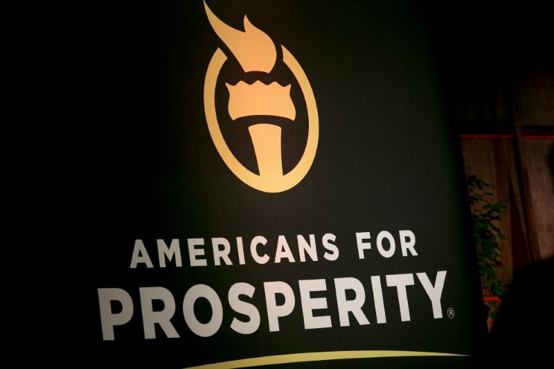 Prosperity banner is seen during an event in Manchester New Hampshire