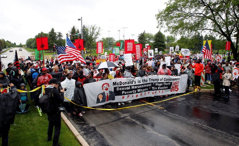 Hundreds protest over minimum wage at McDonald's stockholder meeting