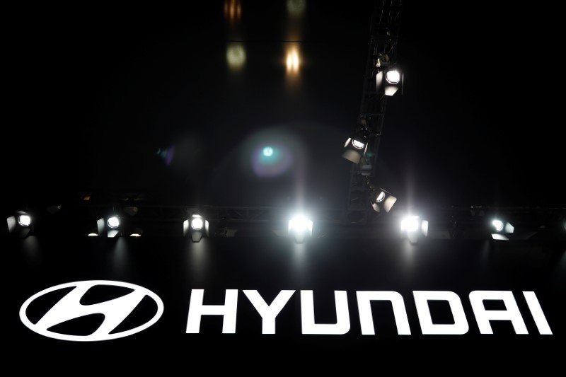 The logo of Hyundai Motor is seen during the 2017 Seoul Motor Show in Goyang South Korea