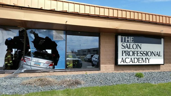 Video car careens through window at fargo salon news for Academy salon professionals