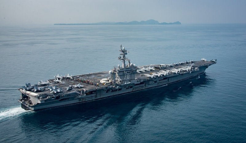 Pilot ejects from jet on U.S. aircraft carrier headed to Korea